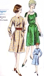 1960s  Day or Party Dress Pattern VOGUE 5417 Figure Flattering Style Bust 32 Vintage Sewing Pattern FACTORY FOLDED