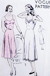 1940s  Straight or Bias Cut Slips Lingerie Pattern VOGUE 5904 Two Styles Bust 38 Easy To Make Vintage Sewing Pattern