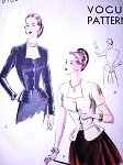 1940s BEAUTIFUL Peplum Evening Blouse or Jacket Pattern VOGUE 6166 Sweetheart Neckline Flirty Gathered Back Peplum Bust 30 EASY To Make Vintage Sewing Pattern