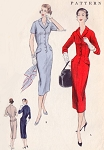 1950s Slim Wiggle Dress Pattern Vogue 8691 Classy Front Button Fitted Dress Day or After 5 Bust 32 Vintage Sewing Pattern FACTORY FOLDED