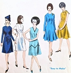 1960s  Basic Dress Pattern Vogue 1545 Semi Fitted Princess Dress A Line or Flared Skirts 5 Style Versions Bust 34 Easy To Make Vintage Sewing Pattern UNCUT