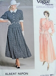 80s Albert Nipon Feminine Two Pc Dress Pattern Vogue American Designer 1861 Vintage Sewing Pattern Two Lovely Style Day or Evening  Detachable Collar and Cuffs UNCUT FACTORY FOLDED Bust 34