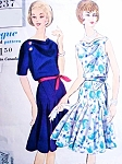 1960s BEAUTIFUL Godet Dress Pattern VOGUE SPECIAL DESIGN 4237 Sectional Godet Flippy Skirt, Cowl Front Neckline Perfect Evening or Day Dress Bust 34 Vintage Sewing Pattern UNCUT