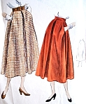 1940s Flared Skirt Pattern Vogue 6838 Inverted Pleat at Centre Front  Waist 26 Vintage Sewing Pattern