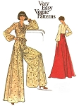 1970s Evening Palazzo Pants Maxi Skirt Wrap Blouse Pattern Very Easy Vogue 8755 Beautiful Cowl Draped Blouse With Surplice Back Wrap Full Sleeves  For Evening Wear Choice Of Wide Palazzo Pants or Floor Length Maxi Skirt Bust 36 Vintage Sewing Pattern FACT