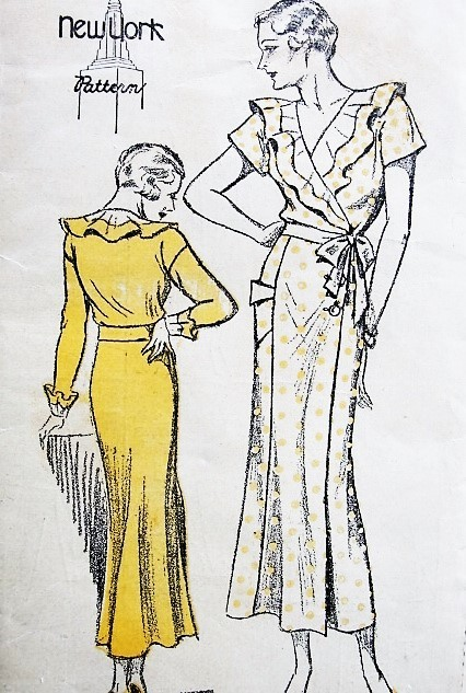1930s LOVELY Wrap Around Dress Pattern NEW YORK 253 Day or Evening  Style NRA Bust 36 Vintage Sewing Pattern