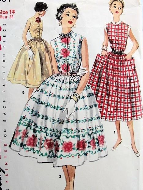 1950s Pretty Dress Pattern Simplicity 1084 Three Style