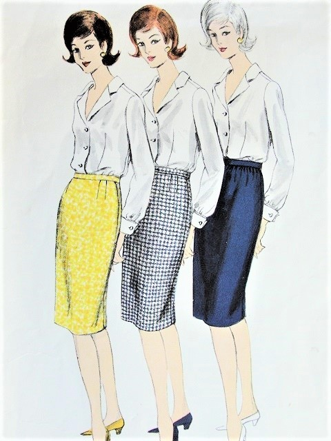 1960s SLIM Proportioned Skirt Pattern VOGUE 1356 Three Styles Waist 30 Vintage Sewing Pattern
