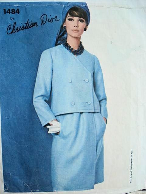 1960s Mod Dress Jacket Pattern Christian Dior Vogue Paris