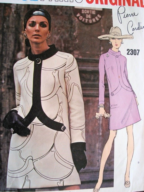 MOD 60s PIERRE CARDIN Dress Pattern Vogue Paris Original 2307 Stylish Day or Cocktail Dress Bust 34 Vintage Sewing Pattern + Label
