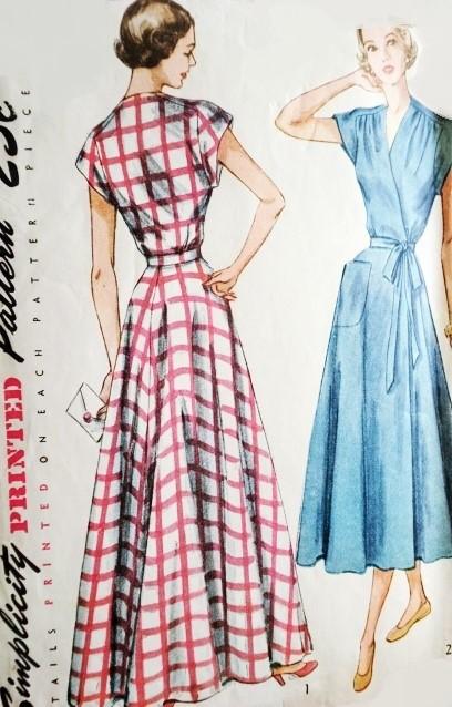 LOVELY Hostess Gown Wrap Robe Brunch Coat or House Dress Pattern ...