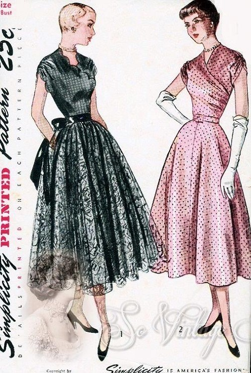 1940s Beautiful Evening Party Dress Pattern Fitted