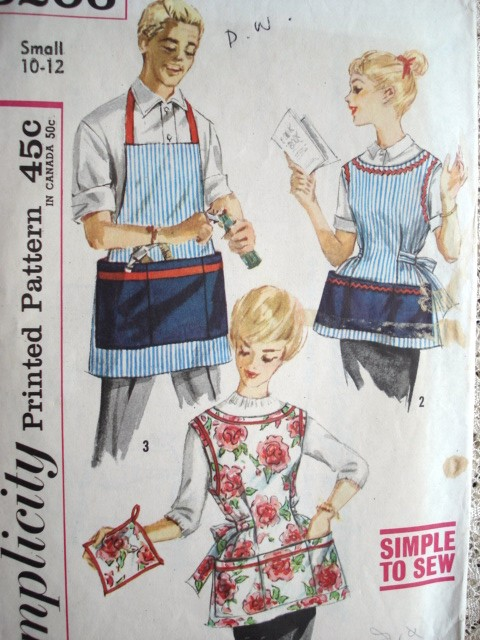 1950s His And Hers Vintage Aprons Pattern Simplicity 3206
