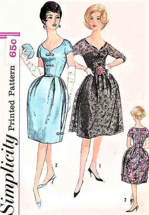 60s Mad Men Era Cocktail Evening Party Dress Pattern SIMPLICITY 3662 Bell Shape or Flared Skirt Lovely Neckline Bust 36 Vintage Sewing Pattern