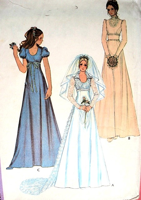 1970s bridal dress wedding gown pattern mccalls 3770