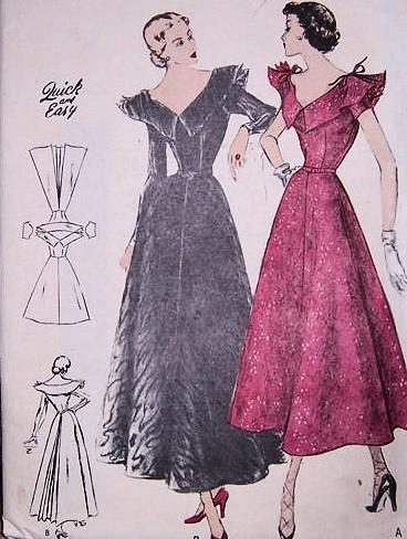 1940s Beautiful Cocktail Evening Dress Pattern Flattering