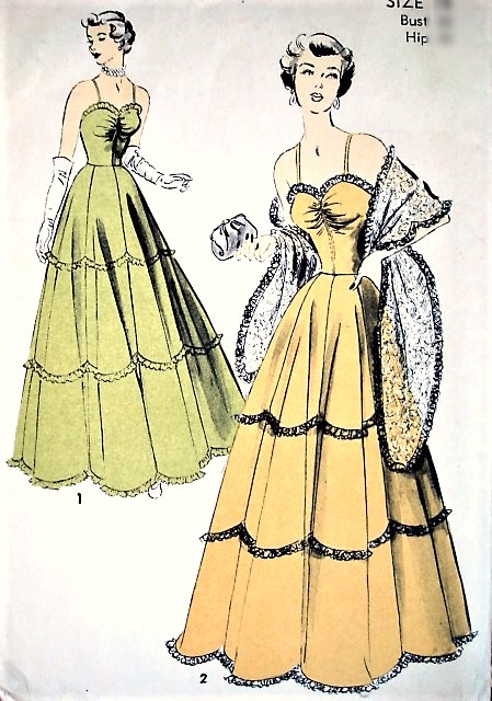 1940s GORGEOUS Evening Gown and Stole Pattern ADVANCE 5048 Beautiful Design Bust 36 Vintage Sewing Pattern