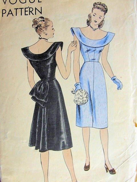 1940s Evening Dress Pattern Beautiful Deep Round Neckline