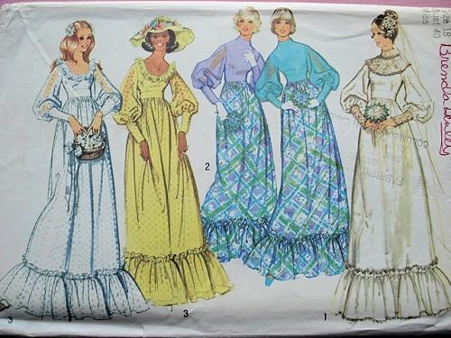70s Romantic Wedding Gown Bridesmaid Dress Pattern