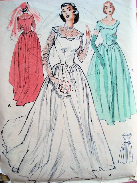 1950s lovely classic fifites wedding gown bridal dress Butterick wedding dress patterns