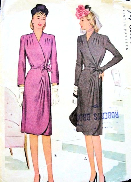 1940s CLASSY Wrap Around Dress Pattern McCALL 5860 Figure Flattering Daytime or Cocktail Party Bust 30 Vintage Sewing Pattern
