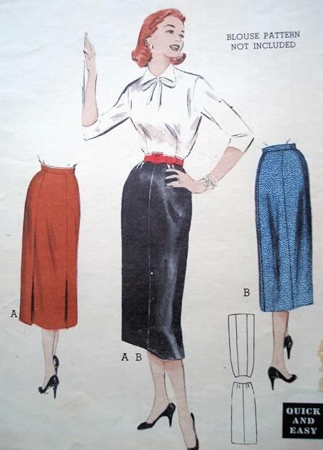 1950s Pencil Skirt Pattern Slim Sleek Style Butterick 6651