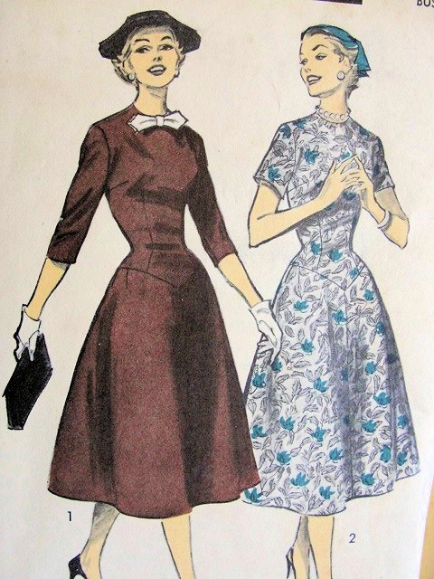 1950s DRESS PATTERN POINTED WAISTLINE PRETTY STYLE ADVANCE 7790