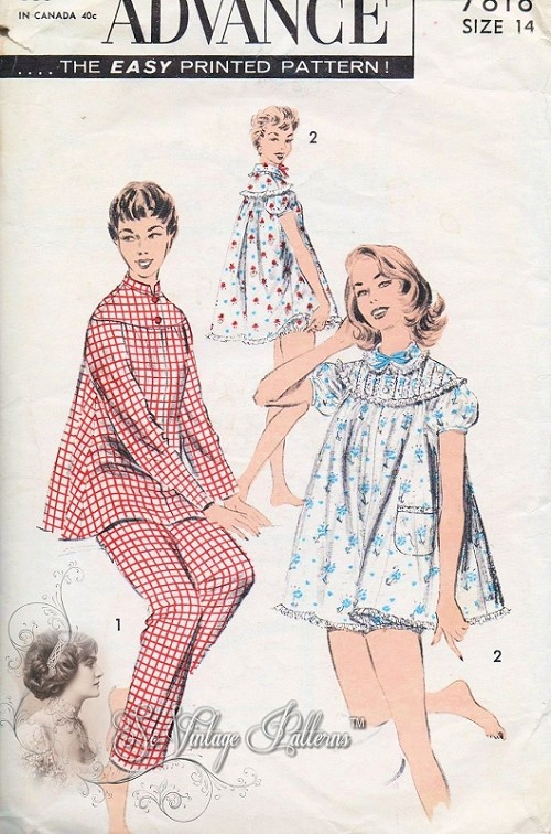 1950s Pin Up Style Baby Doll Shortie Pjs Pattern Advance