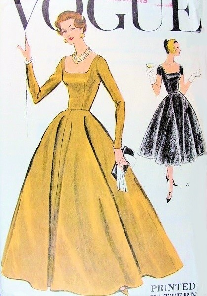1950s Beautiful Evening Gown Cocktail Dress Pattern Vogue