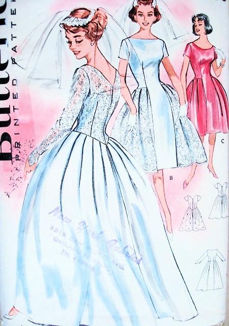 1960 beautiful bridal dress wedding gown pattern butterick for Butterick wedding dress patterns
