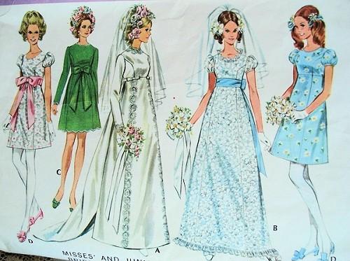1960s mod wedding dress mccalls 9652 empire waist princess for Empire waist wedding dress patterns