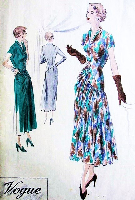1940s GORGEOUS Evening Cocktail Party Dinner Dress VOGUE COUTURIER Design 474 Striking Draped Details Bust 36 Vintage Sewing Pattern