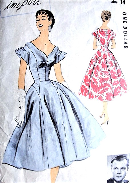 1950s GORGEOUS Evening Party Dress Pattern ADVANCE IMPORT 102 John Cavanagh Designer Molded Bodice Low Curved V Neckline Full Flared Skirt Bust 32 Vintage Sewing Pattern
