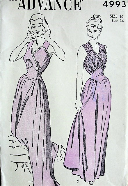 1940s GLAM PinUp Style NightGown Lingerie Pattern ADVANCE 4993 Two Beautiful Styles Bust 34 Vintage Sewing Pattern FACTORY FOLDED