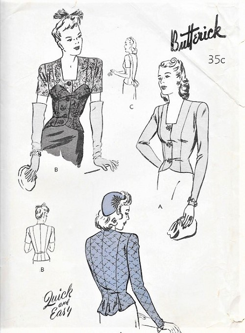 1940s FAB Film Noir Style Peplum Over Blouse Pattern BUTTERICK 2677 Day or Evening With Lace Version Stunning Design Bust 34 Vintage Sewing Pattern