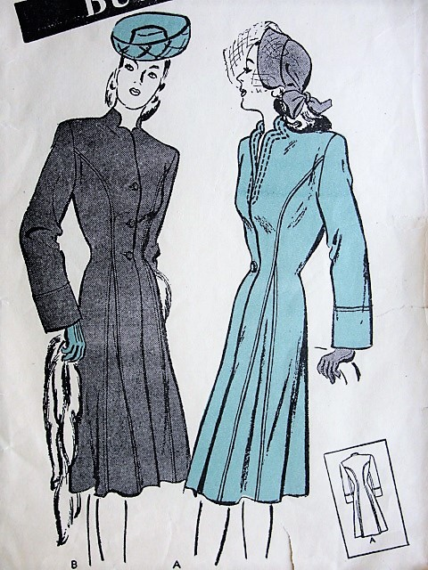 1940s PRINCESS Coat Pattern BUTTERICK 3471 Two Beautiful Figure Flattering Designs Bust 34 Vintage Sewing Pattern