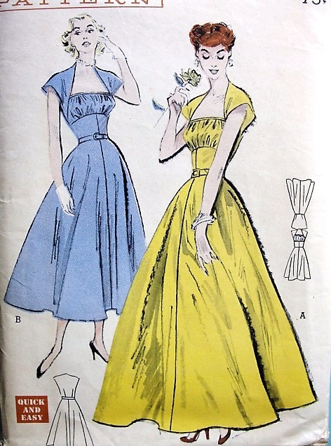 1950s GRAND ENTRANCE Evening Gown Party Dress Pattern BUTTERICK 5508 Empire Waist Shirred Inset Bust 34 Vintage Sewing Pattern