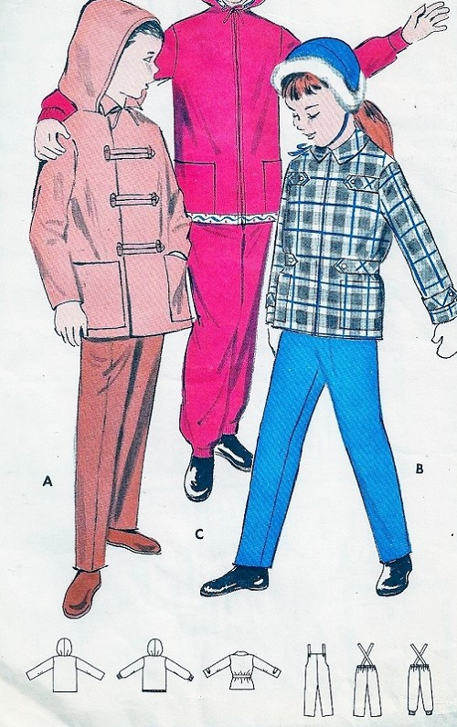 Butterick 8765 Childrens Snowsuit Pattern CUTE Girls and Boys ...