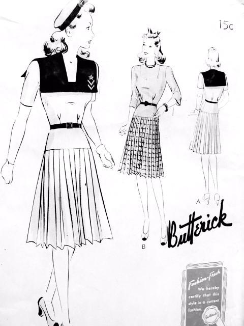 CUTE 1940s FROCK Dress Pattern BUTTERICK 9385 Large Sailor