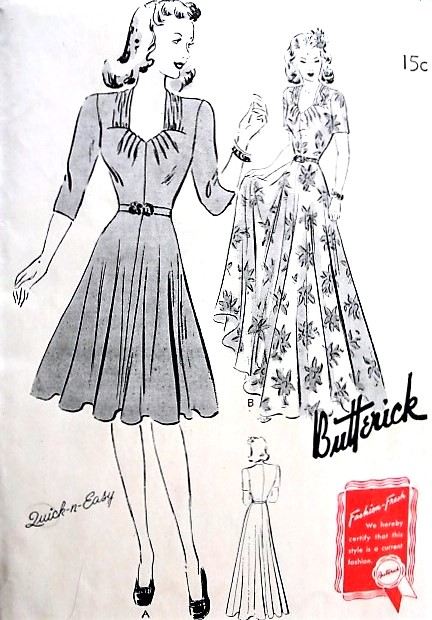 1940s EVENING Gown Or Day Dress Pattern BUTTERICK 9422 Eye Catching Design Bust 36 Quick n Easy Vintage Sewing Pattern Factory Folded