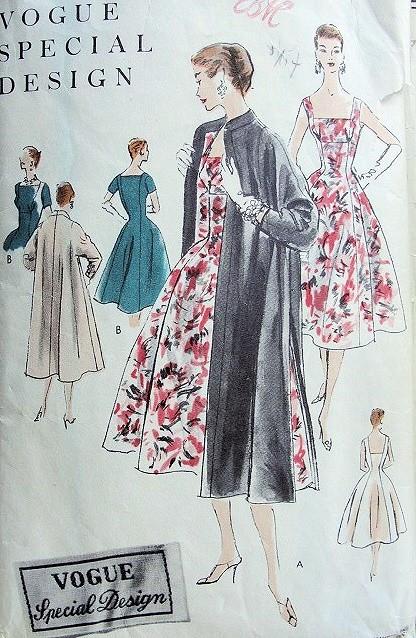 1950s Beautiful Cocktail Dress Evening Coat Pattern Vogue