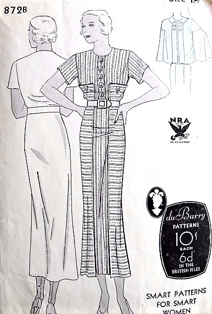 1930sART DECO Slim Dress and Beautiful Cape Pattern DuBARRY 872B Tailored Slim Dress, Fabulous Cape Bust 32 Vintage Sewing Pattern
