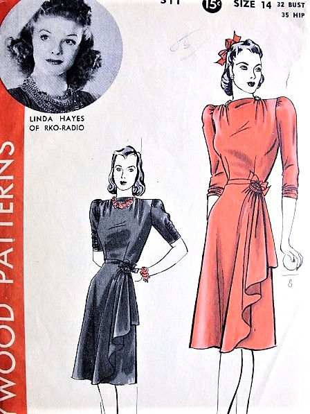 1940s BEAUTIFUL Side Cascade Dress Pattern HOLLYWOOD 511 Featuring Starlet Linda Hayes Film Noir Style Day or Evening Dress Bust 32 Vintage Sewing Pattern