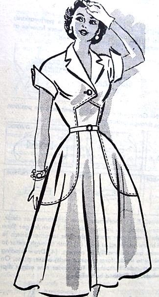 1950s LOVELY Date Dress Pattern MARIAN MARTIN 9237 Perky French Cuffs Interesting Bodice Style Bust 32 Vintage Sewing Pattern FACTORY FOLDED