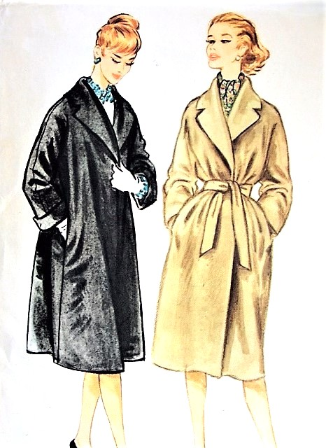 1950s FAB Dressy or Casual Coat Pattern McCALLS 5102 Loose or Belted Lovely Wide Notched Shawl Collar Bust 36 Vintage Sewing Pattern