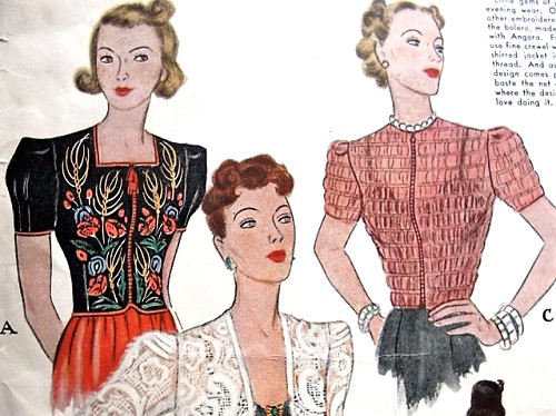 RARE 1930s Glamorous Trio of  Jackets Pattern McCALL 655 Beautiful Daytime or Evening Embroidered , Shirred Jackets or Blouse and Darned Lace Bolero Bust 36 Vintage Sewing Pattern UNCUT