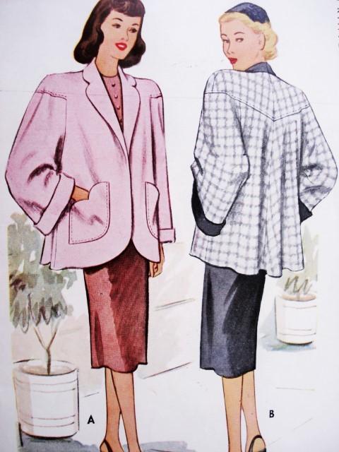 1940s Fab High Fashion Jacket Swing Back Car Coat Pattern