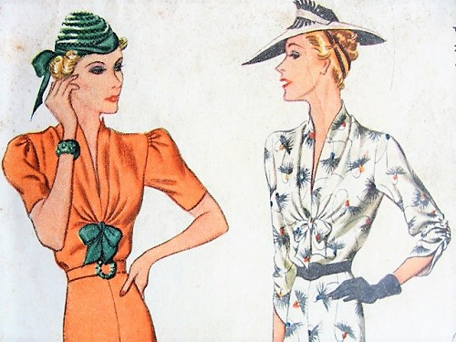 1930s ALLURING Dress with Bow Detail McCall 9705 Vintage Sewing Pattern Bust 38