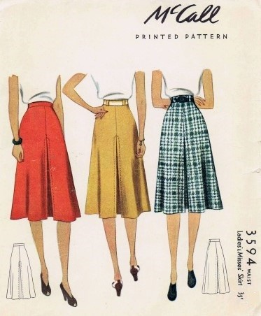 1940 Skirt Pattern McCall 3594 War Era With Inverted Pleat Waist 32 Vintage Sewing
