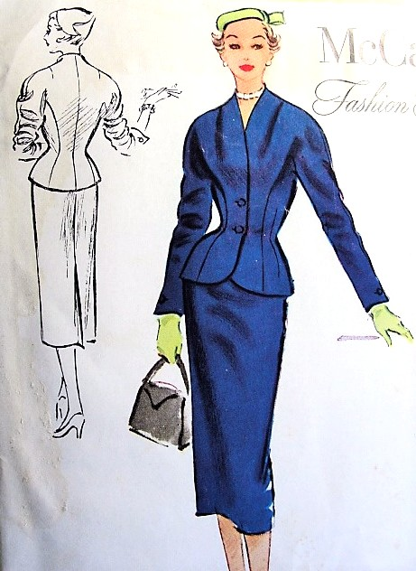1950s STUNNING Slim Skirt Suit Pattern McCALLS Fashion Firsts 9493 High Fashion Nip In Waist Suit Bust 34 Vintage Sewing Pattern